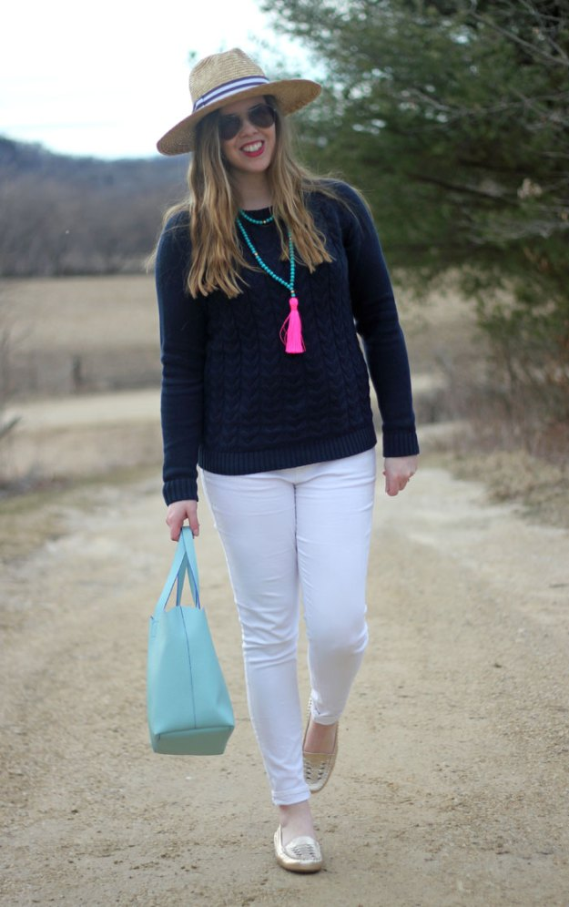 Spring Brights: Lands' End drifter sweater in navy, white Old Navy jeans, gold Vionic flats, pink tassel necklace, Hat Attack hat, Deux Lux mint tote | Puppies & Pretties