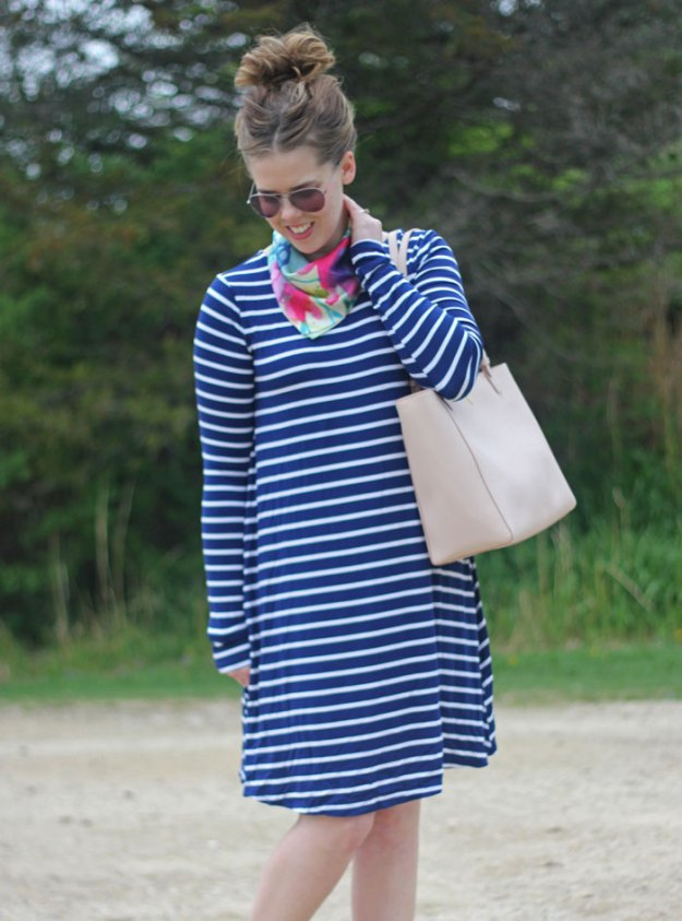 GYPO bandana scarf, navy striped dress from Old Navy, Tory Burch York tote, Clarks booties | Puppies & Pretties