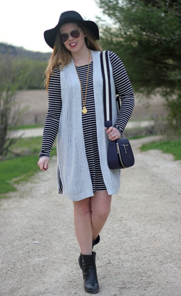 Old Navy black and white striped dress, Gap Factory grey sweater vest, black floppy hat, Clarks booties, purple Marc Jacobs Gotham saddle bag, Julie Vos pendant | Puppies & Pretties