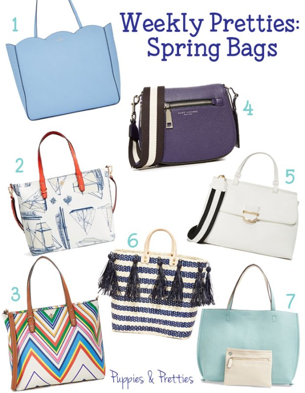 Weekly Pretties: Spring Bags | get a pretty color, a fun print, or even tassels to round out your spring wardrobe | Puppies & Pretties