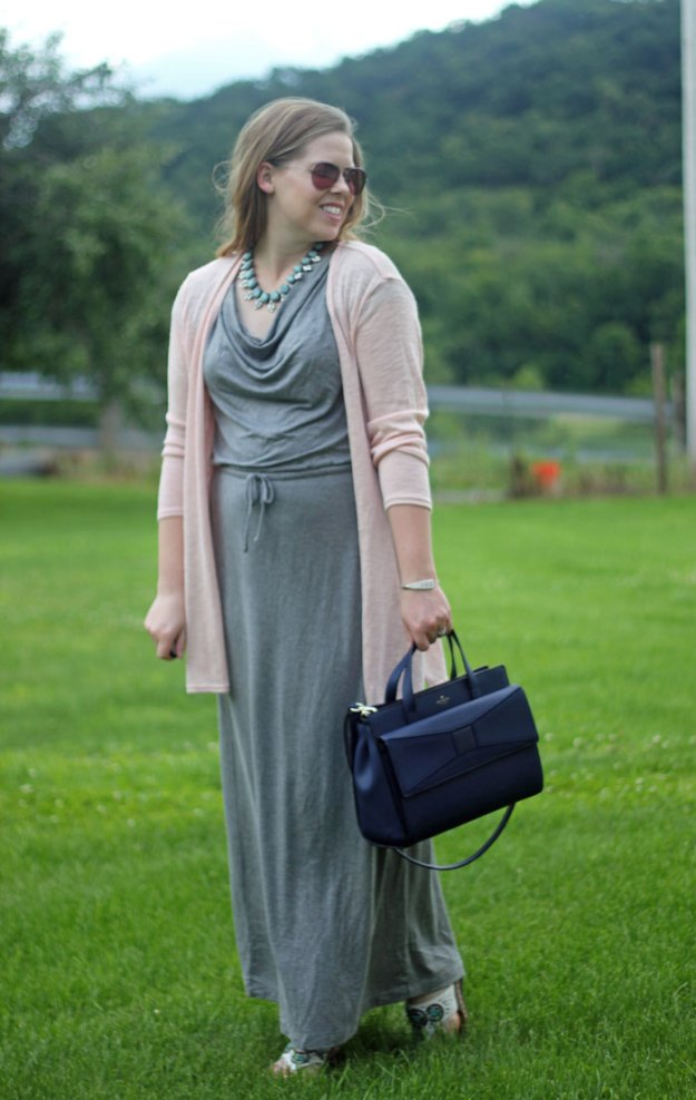 Pink and Turquoise: grey maxi dress, pink cardigan, turquoise statement necklace, Kate Spade bow bag   Puppies & Pretties