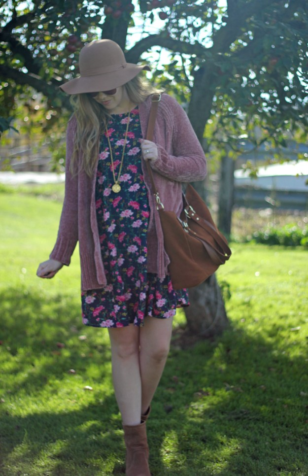 Floral for Fall: Old Navy floral dress, Loft pink chenille cardigan, Julie Vos pendant, brown booties and floppy hat | Puppies & Pretties