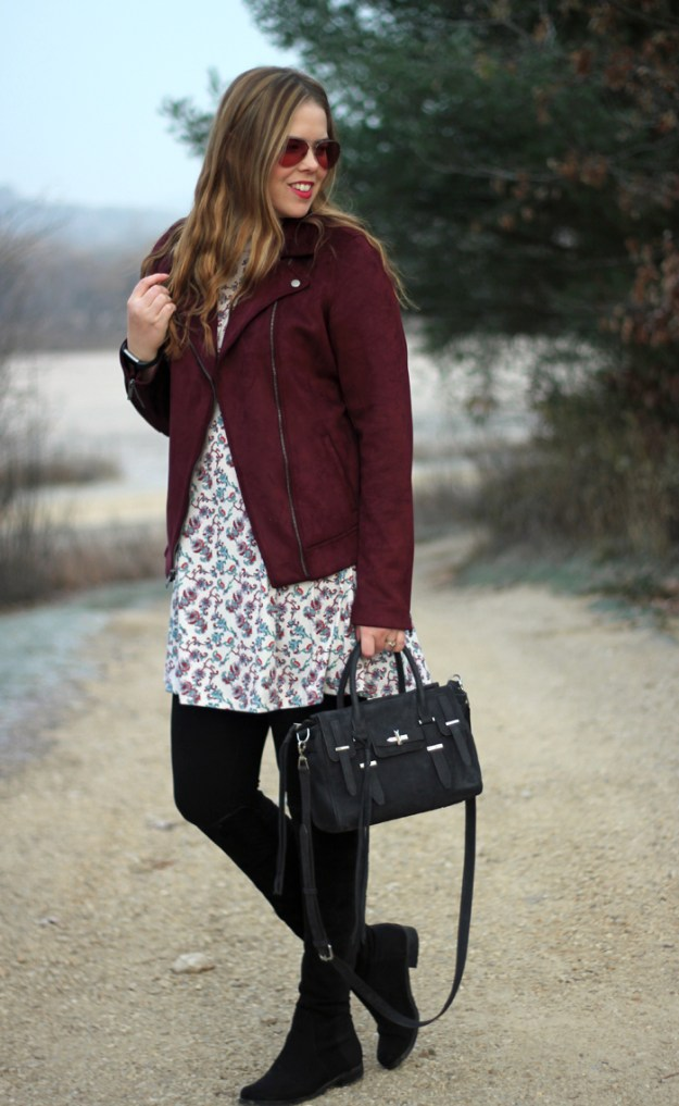 Maroon Moto Jacket: a perfect look for fall with a moto jacket from Old Navy with a floral dress and black OTK boots | Puppies & Pretties