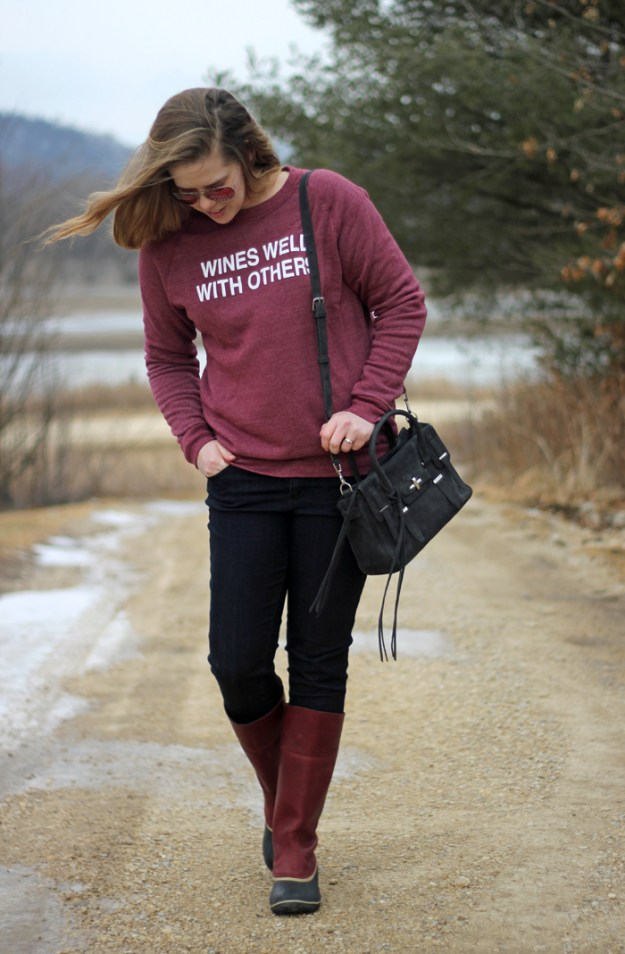Wines Well With Others: sweatshirt via Taylor Wolfe shop, Wit & Wisdom jeans, Sorel Slimpack riding boots, Rebecca Minkoff purse   Puppies & Pretties