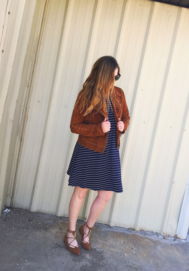Navy and Cognac: Old Navy navy stripe swing dress, BlankNYC cognac suede jacket, Vionic lace-up ballet flats, Kendra Scott necklace | Puppies & Pretties