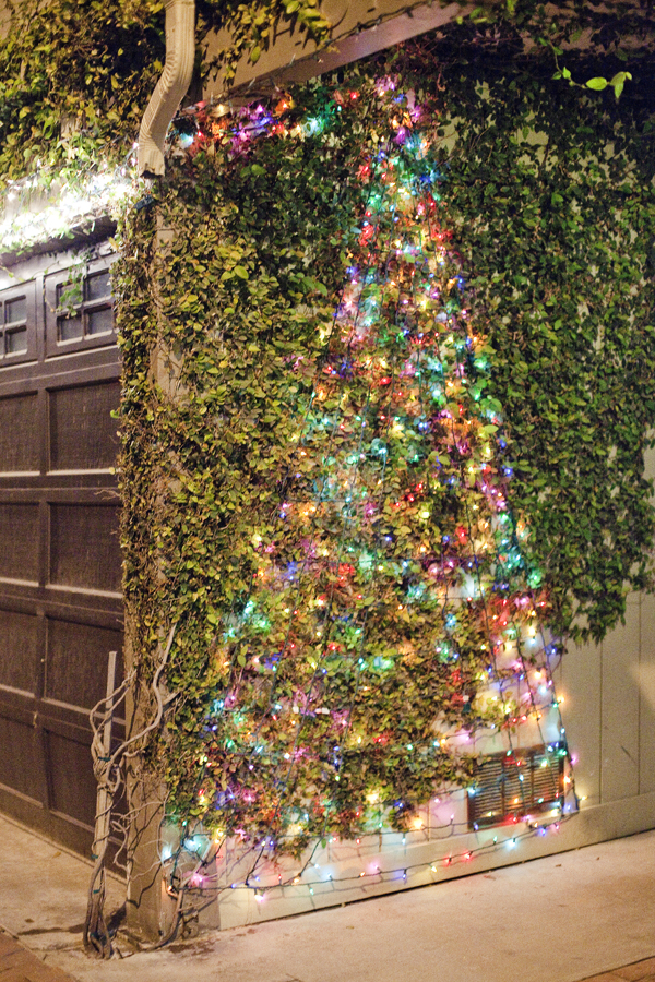 Christmas tree light decorating the side of a garage at Marina Del rey.