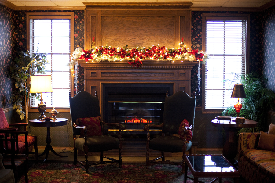 Decorated fireplace in Minnesota.