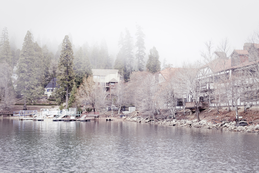Fog settles on the banks of Lake Arrowhead.