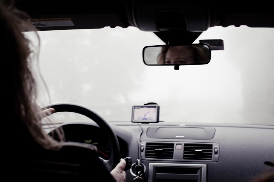 Driving in the fog down Lake Arrowhead.