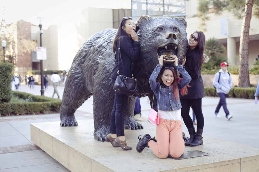 Posing with the Bruin bear mascot in UCLA.