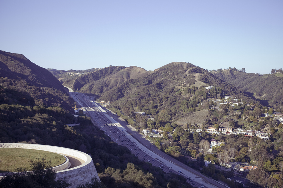 View of the highway from the Getty Center in Los Angeles, California.