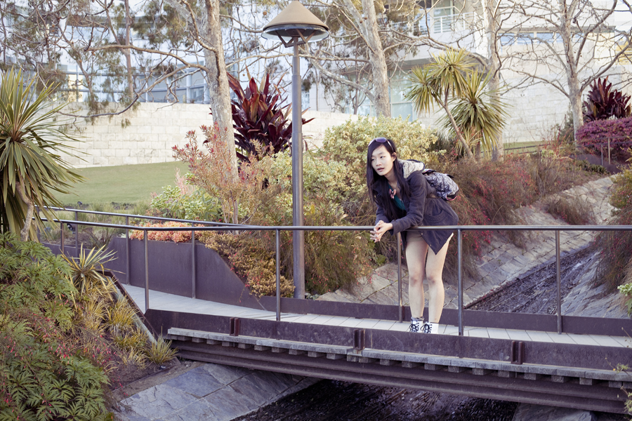 Ren at a bridge at the Getty Center, Los Angeles.
