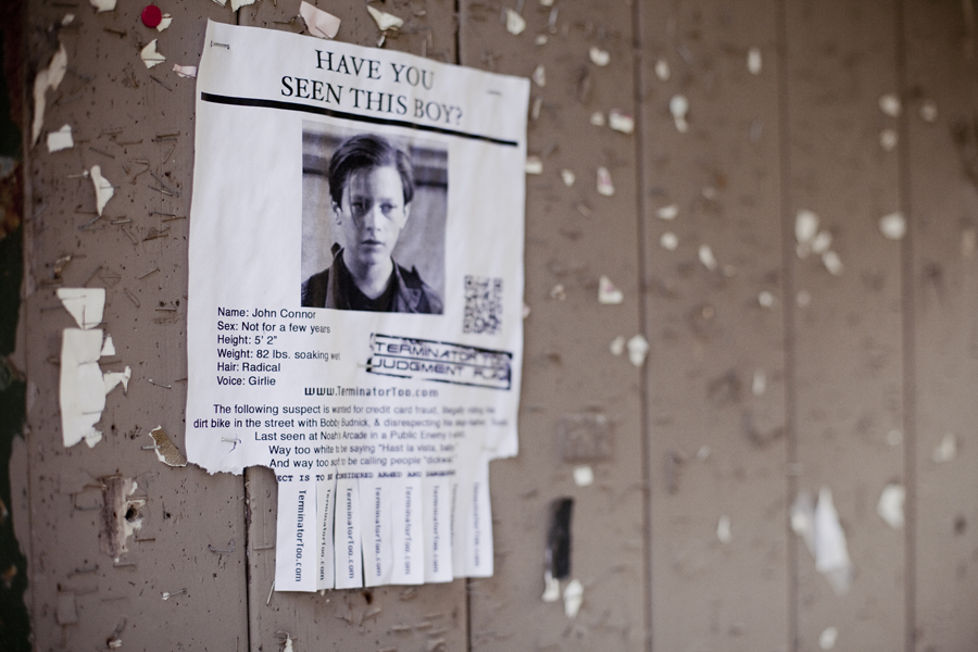 Poster for Terminator 2, search for John Connor, found at Runyon Canyon Park in Hollywood, Los Angeles.
