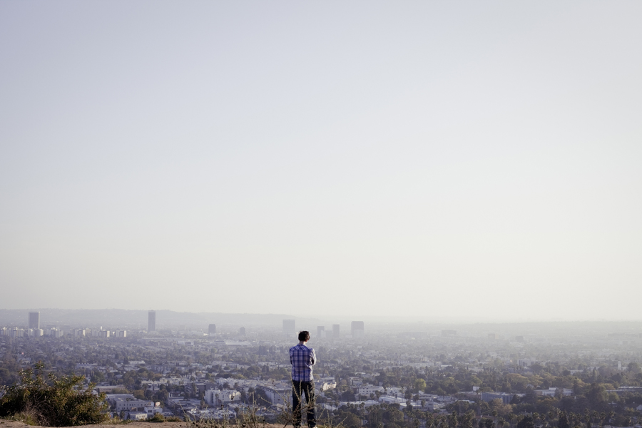 View of the LA cityscape at Runyon Canyon Park in Hollywood, Los Angeles.