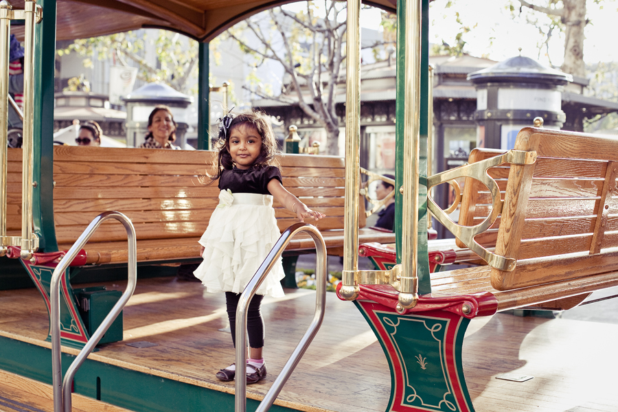 Girl on a tram at The Grove in Los Angeles.