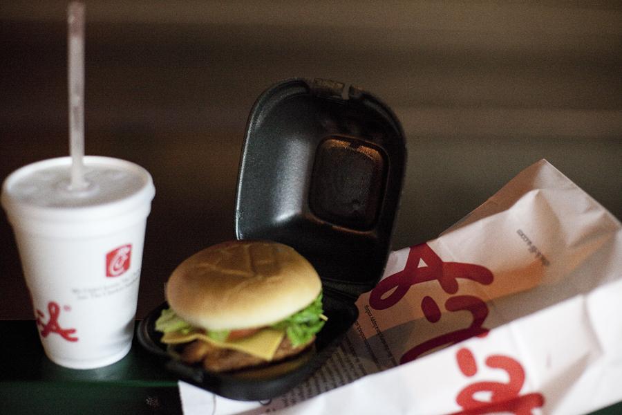 Chick-fil-A burger at Hollywood.
