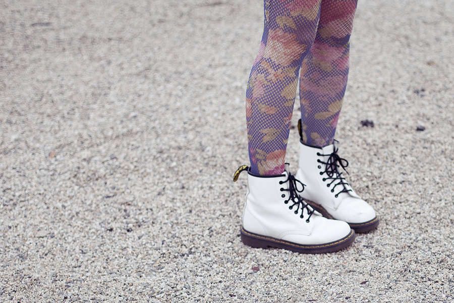Self-portait. Outfit details: Urban Outfitters floral net tights, Dr Martens white 8-eye boots.