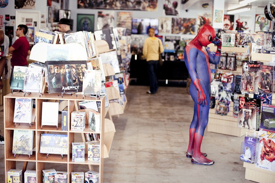 The Amazing Spiderman browsing the shelves at 3C California Comics and Collectables on Free Comic Book Day, May the Fourth.