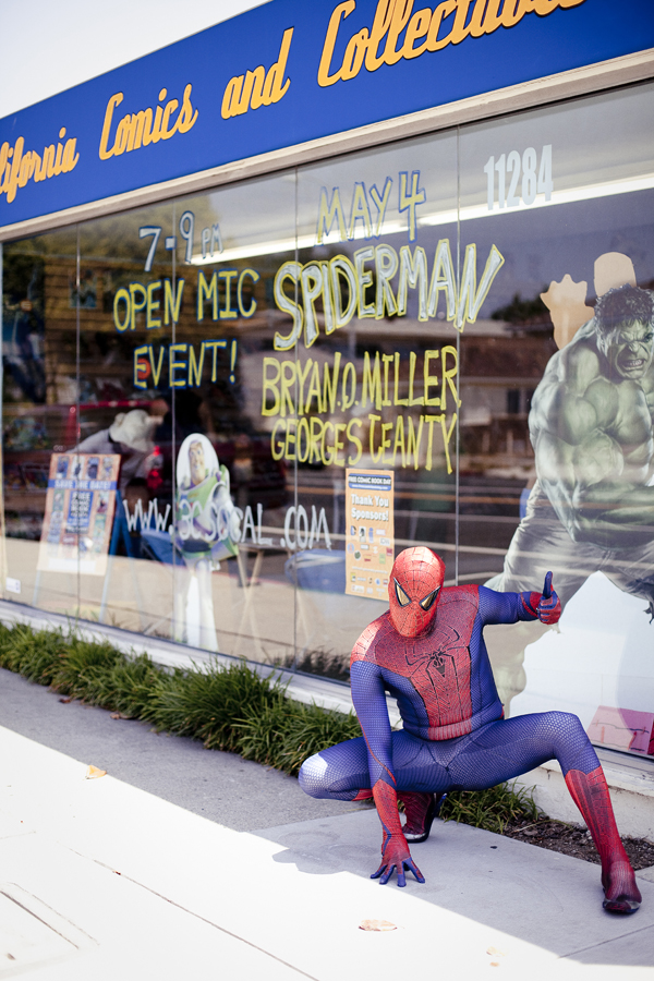 The Amazing Spiderman strikes a pose outside 3C California Comics and Collectables on Free Comic Book Day, May the Fourth.