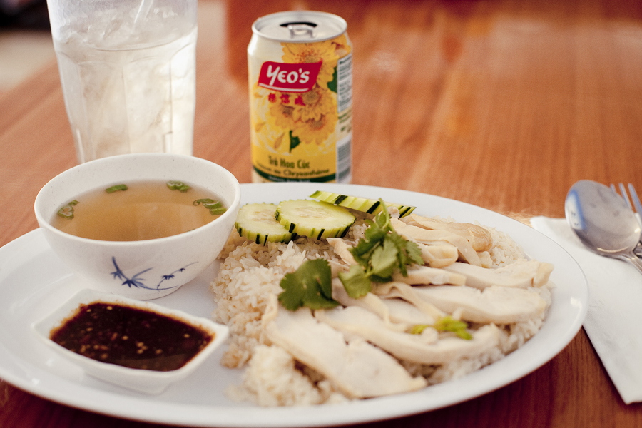 Hainanese Chicken Rice and Yeo's Chrysanthemum tea canned drink at Moo Moo Thai Cafe- reminiscent of Singapore food!