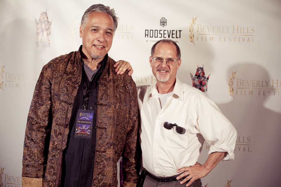 MC and friend at the Beverly Hills Film Festival in Grauman Chinese Theater, Los Angeles, California.