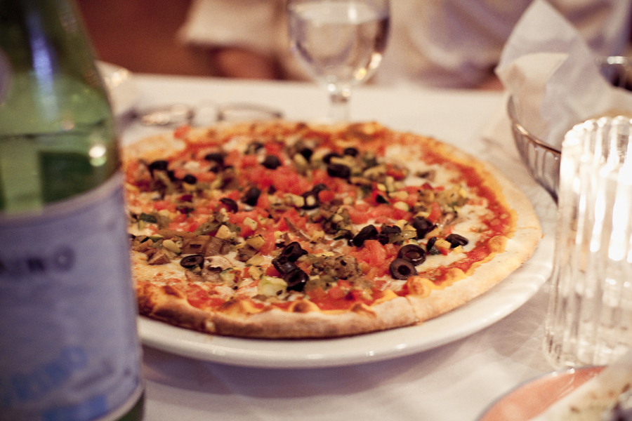 Pizza with olive toppings.