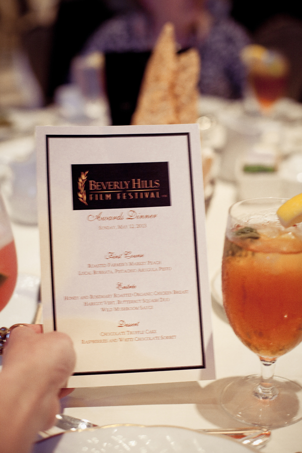 Menu at the Beverly Hills Film Festival awards ceremony at the Four Seasons Hotel.