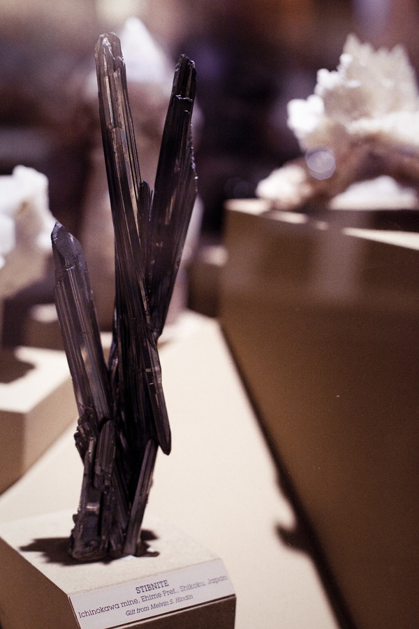 Stibnite at the Natural History Museum in Los Angeles.