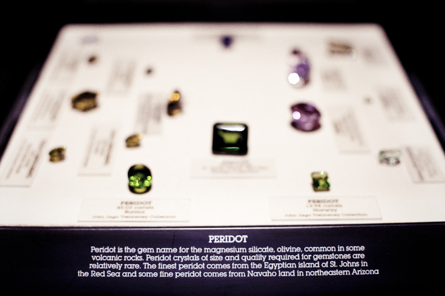 Peridot gems on display at the Natural History Museum in Los Angeles.
