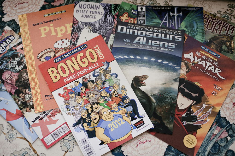 Free comics from Free Comic Book Day, May the Fourth. The Simpsons, Pippin, Dinosaurs & Aliens, Avatar The Last Airbender, Moomin Valley, Superman, X-Men.