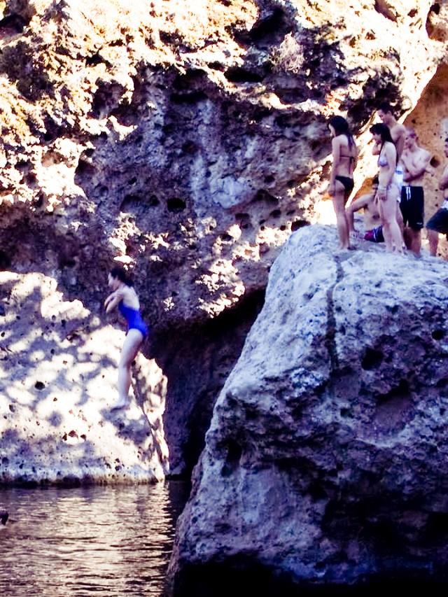 Ren jumping off the cliff at Malibu Creek.