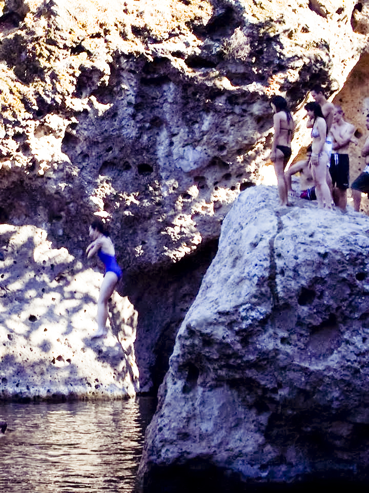 Ren jumping off the cliff at Malibu Creek.