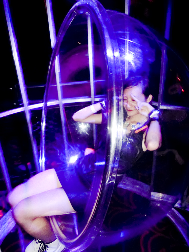 Ren at the swinging chair at Light nightclub, Las Vegas.