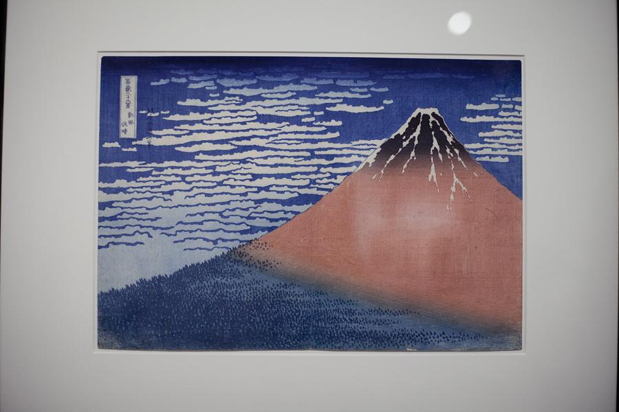 36 Views of Mount Fuji woodblock prints from Katsushika Hokusai at LACMA, Los Angeles.