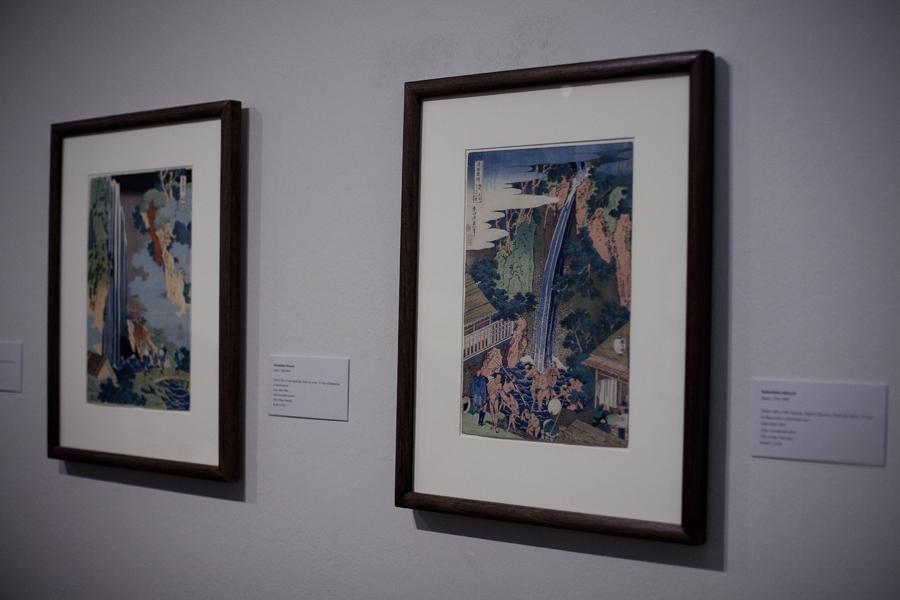 Exhibited woodblock prints from Katsushika Hokusai at LACMA, Los Angeles.
