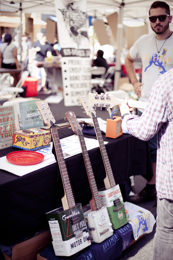Guitars made out of recycled materials at Make Music Pasadena.