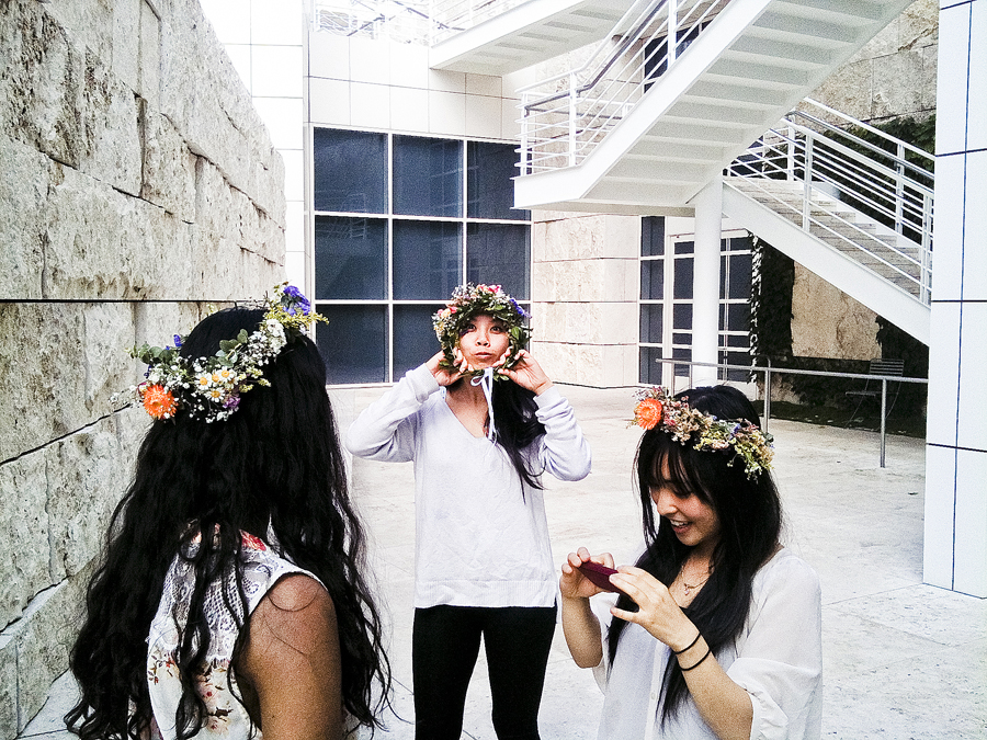 Photo-taking with our completed wreaths at the Getty Center.