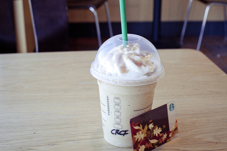 Free Caramel frappuccino at Starbucks with my rewards card.