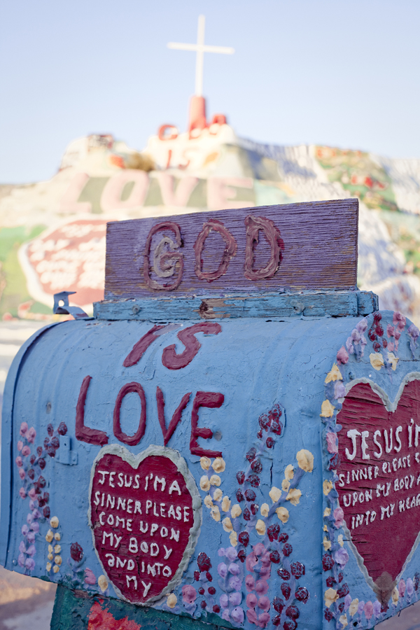 'God is Love' postbox at Salvation Mountain.