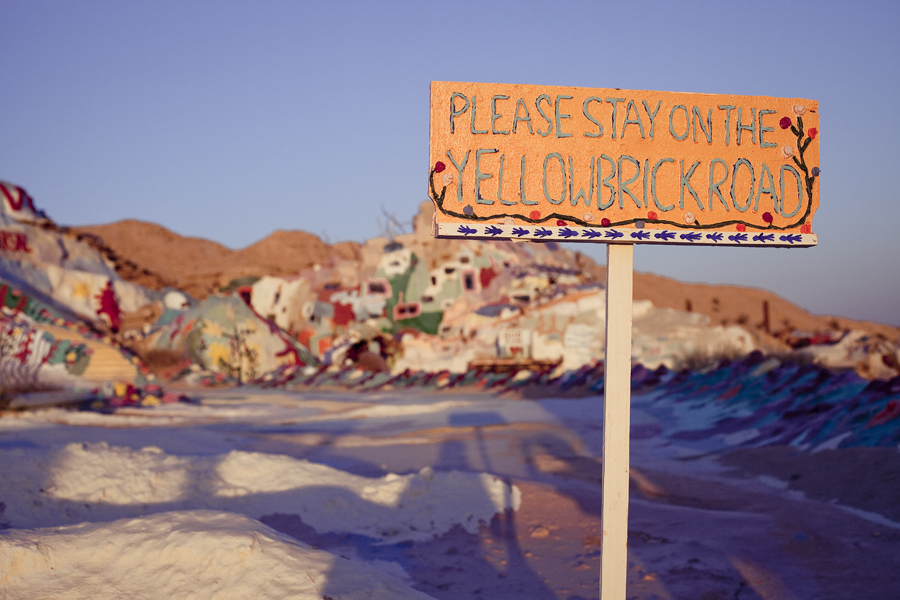 Yellow Brick Road sign at Salvation Mountain.