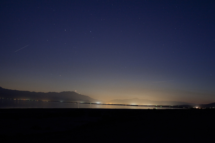 Night sky at Salton Sea.