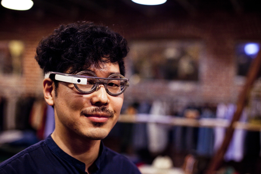 Jin wearing his Google Glasses at the Lookbook x Rebecca Minkoff Denim Launch Party at the Confederacy Boutique in Hollywood, Los Angeles.