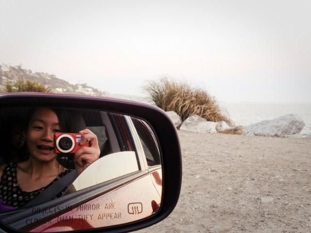A picture of myself via mirror while cruising down Malibu beach.