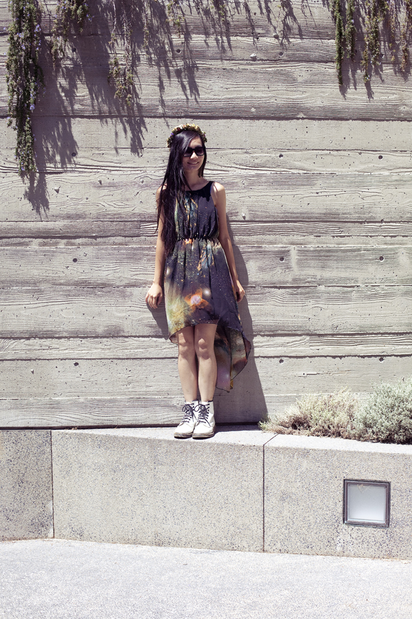 Ren at the Getty Villa. Outfit of the day OOTD wearing Romwe green galaxy chiffon dress, handmade DIY floral wreath, white Dr. Martens classic 1460 boots, geeky 8bit sunglasses.