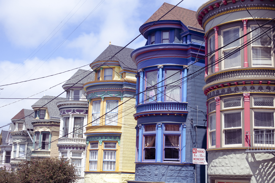 Row of colourful houses on Haight in San Francisco.