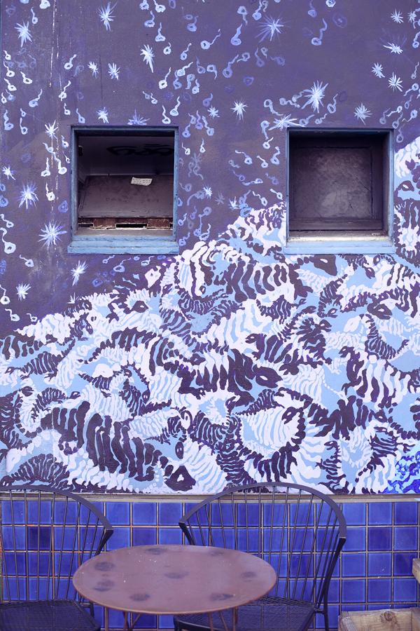 Mural of Hokusai-reminiscent waves on Haight in San Francisco.