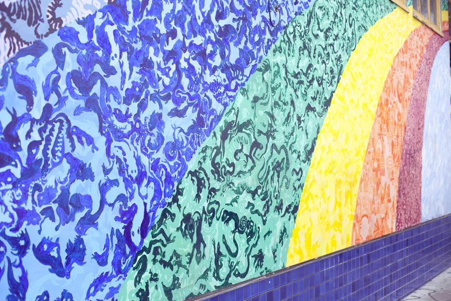 Rainbow mural on Haight in San Francisco.
