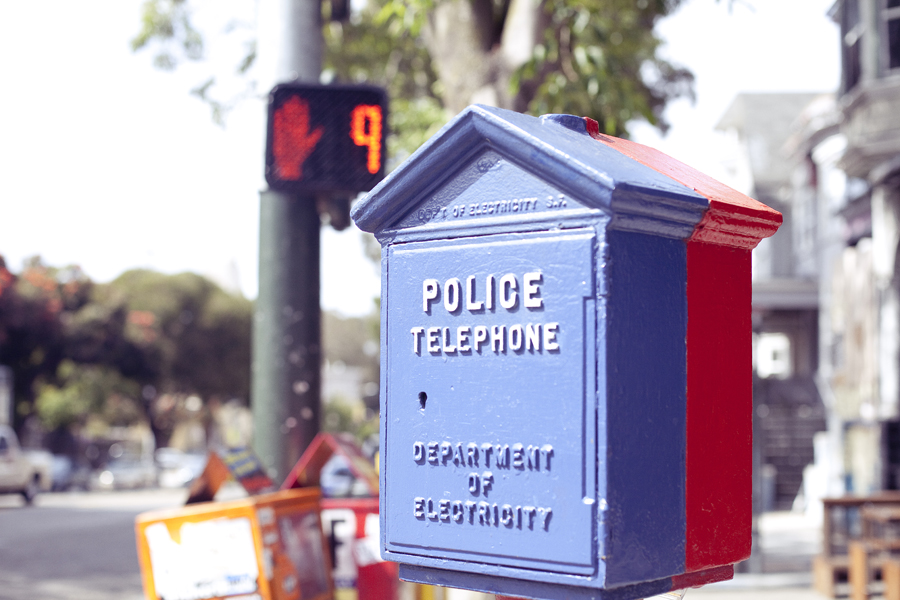 Police and Fire call box on a street on Haight in San Francisco.