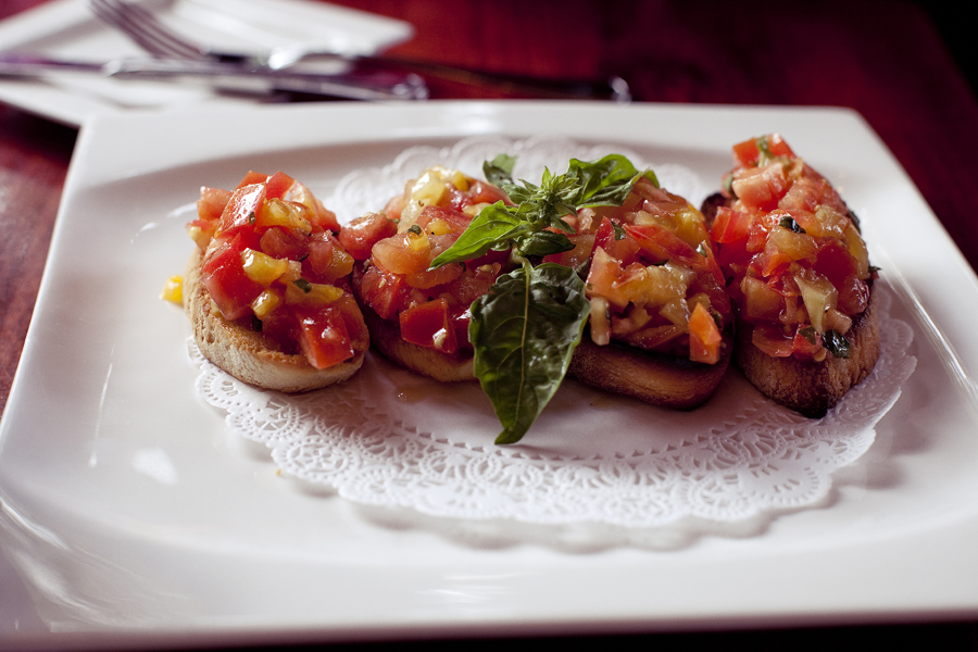 Bruschetta at E' Tutto Qua Ristorante e Cafe in San Francisco, California.