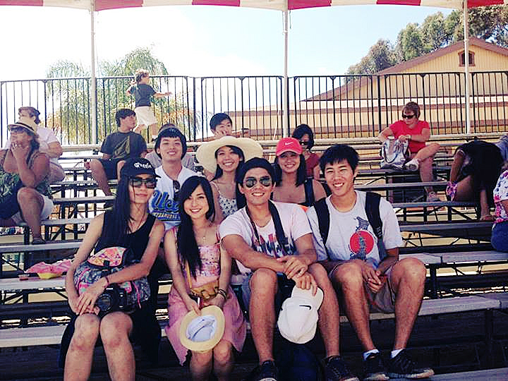 Group photo at the pig races at the Orange County Fair.